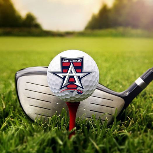 Golf ball with Allen Americans team logo on it