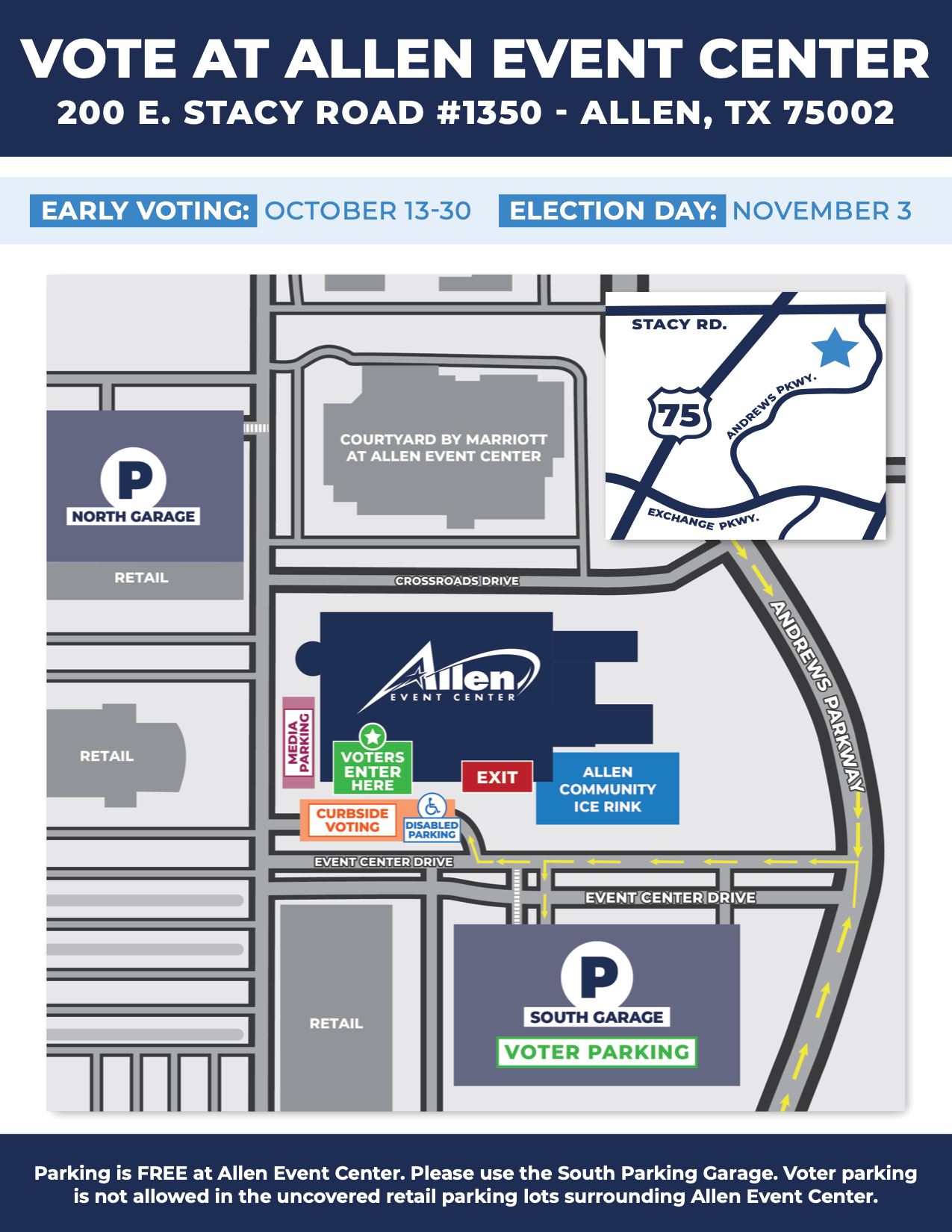 Allen Event Center - Parking Map (Elections 2020)