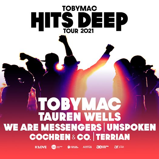 Concert poster for Toby Mac Hits Deep Tour 2021 with artist lineup and sponsor logos