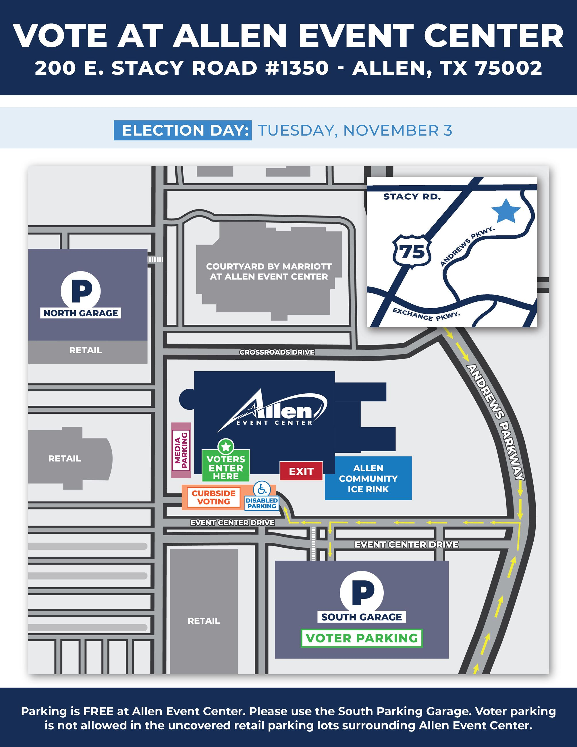 Parking map for Allen Event Center