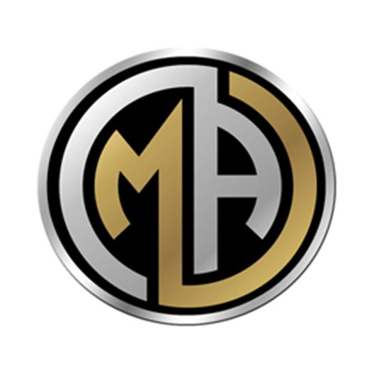 Round silver and gold logo with M and A inside