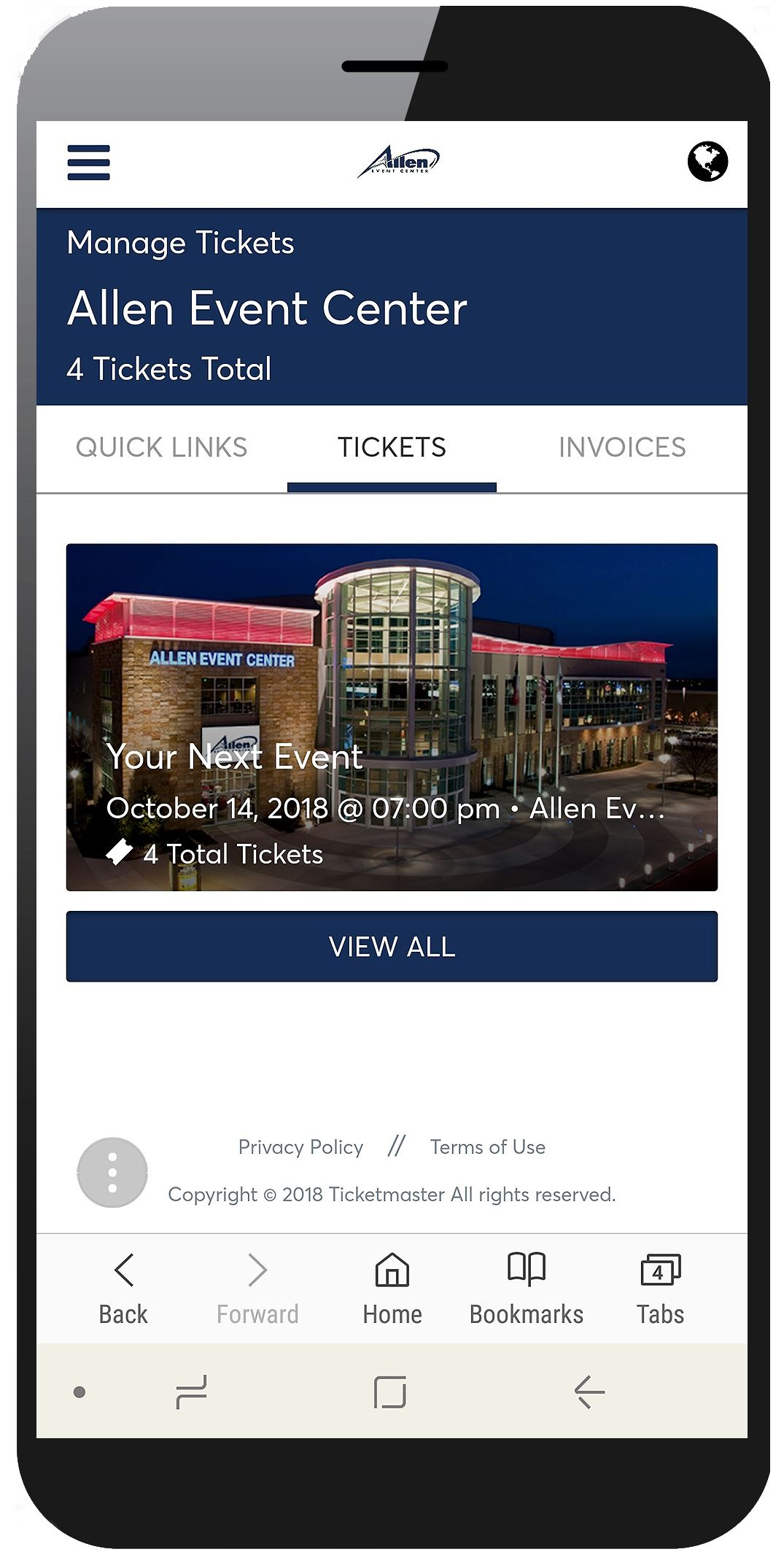 Picture of Account Manager Manage Tickets Page