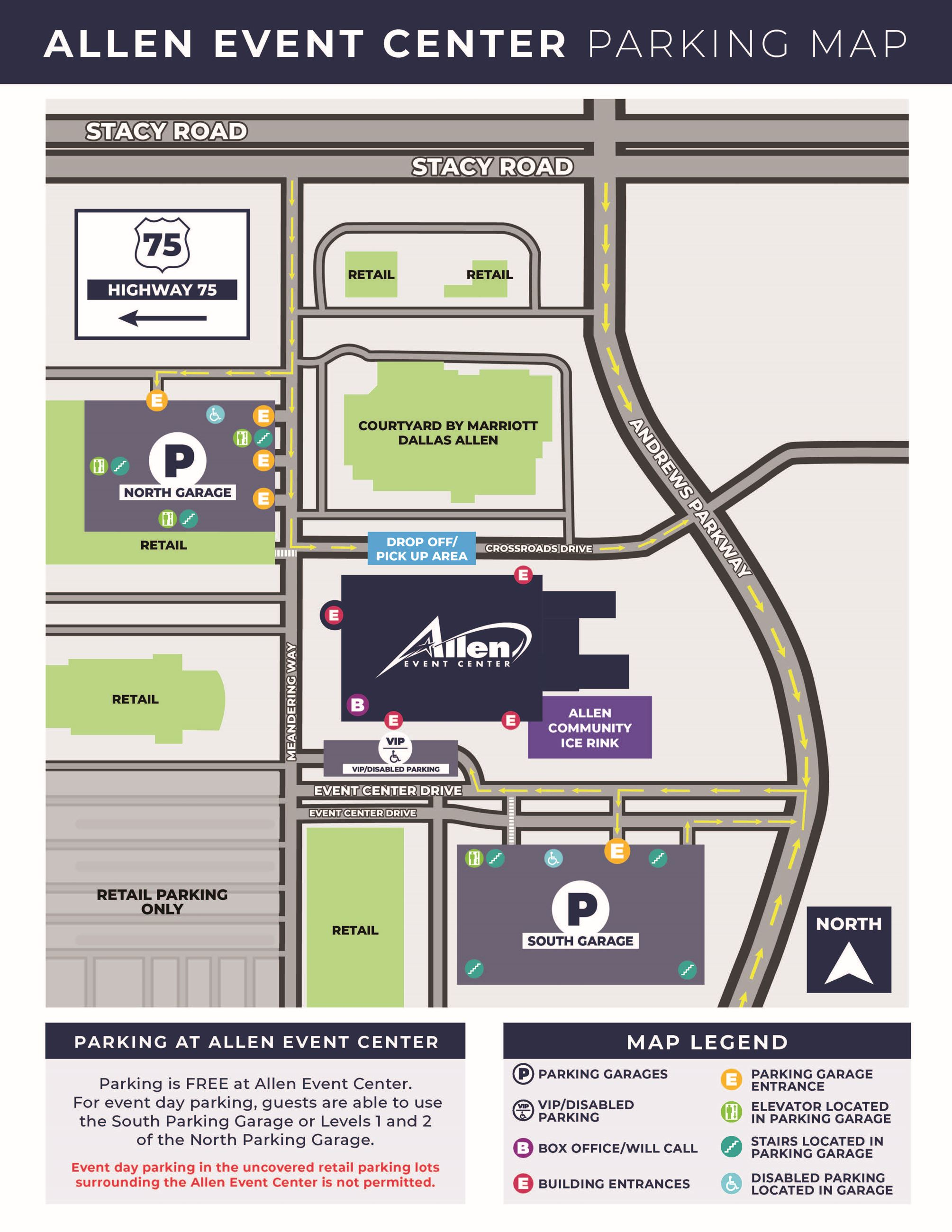 Allen Event Center Parking Map