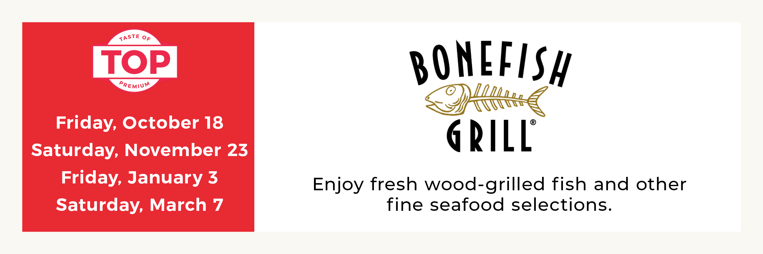 Bonefish Grill Meal Service Dates Opens in new window