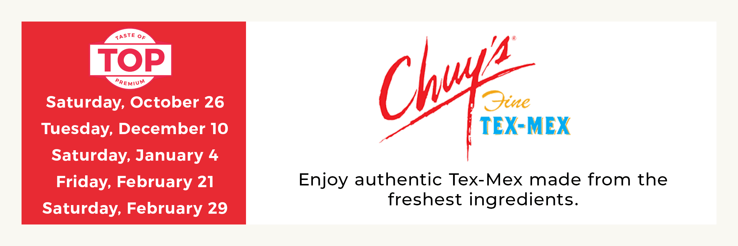 Chuy's Meal Service Dates Opens in new window