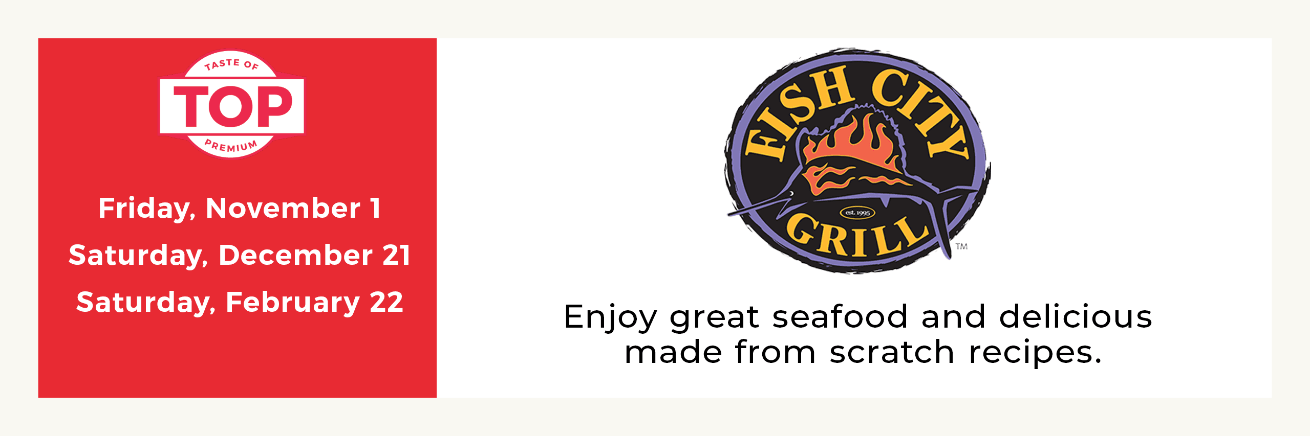 Fish City Grill Meal Service Dates Opens in new window
