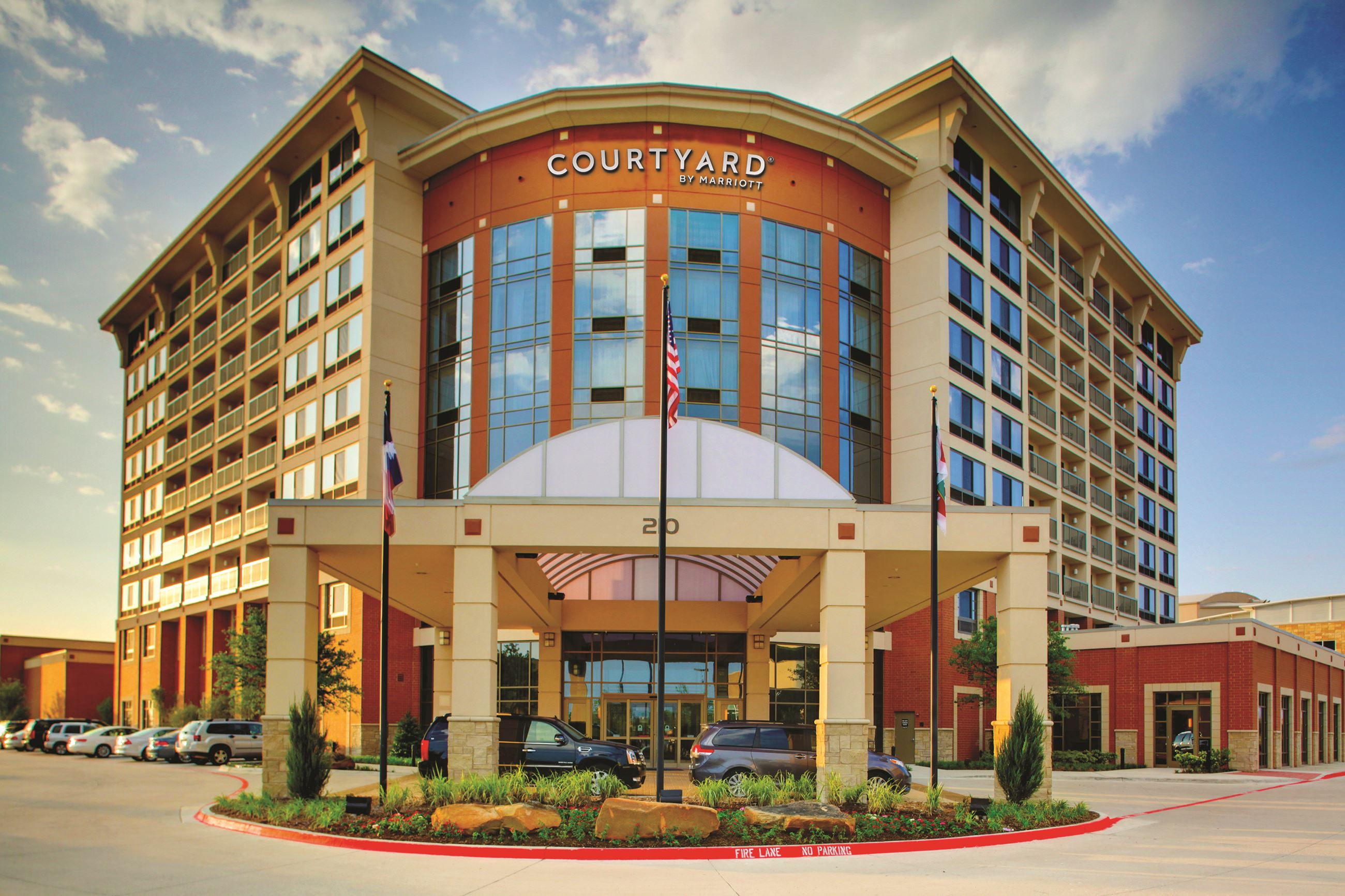 Exterior photo of the Courtyard Marriott at Allen Event Center